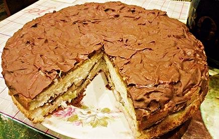 бисквитный торт с бананами и киви