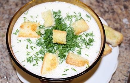 Суп из креветок с плавленным сыром